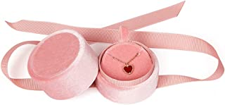 Bearda Pink Pendant Box - Mini Premium Velvet Round Necklace Jewelry Storage Gift Box with Elegant Silk Knot for Proposal, Engagement, Wedding, Birthday, Christmas, Anniversary