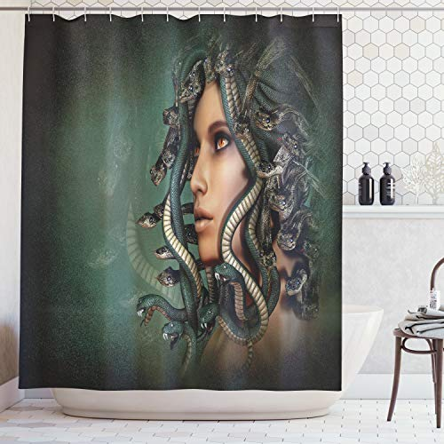 """Ambesonne Mythological Shower Curtain, Woman with Snakes on Her Head Occult Style Meditation, Cloth Fabric Bathroom Decor Set with Hooks, 70"""" Long, Green Tan"""