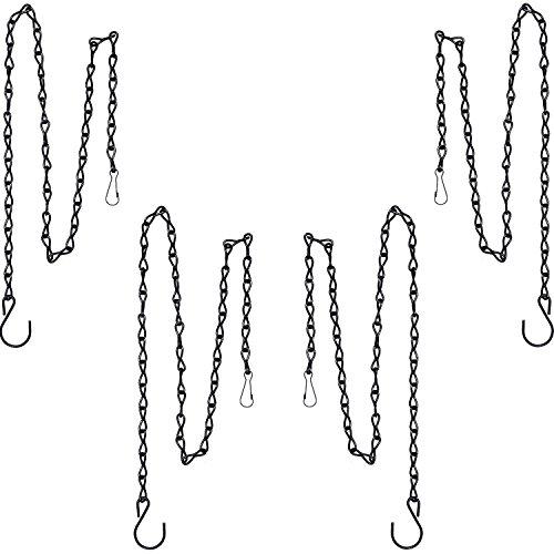 XUTONG Kette zum Aufhängen von Vogelhäuschen, Vogeltränken, Pflanzgefäßen und Laternen, 89,9 cm, Schwarz, 4 Stück
