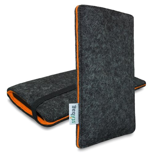 stilbag Custodia di Feltro 'Finn' per Sony Xperia Z - Colore: Antracite/Arancio