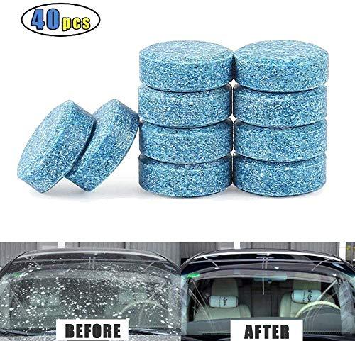 Kindax 40pcs Pastiglie Lavavetri Effervescenti, Detergente per Pulizia Vetri Auto, 1 Pastiglia= 4L Liquido per Parabrezza Auto