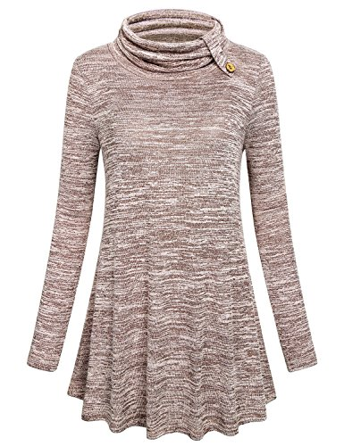 Hibelle Boutique Clothing For Women, Lady Contemporary Autumn Outfits Causal Wear Street Designer Trapeze Tunic Blouse Modest Retro Bling Zulily Tops Cover-Up Regular Feminine High Neck Shirt Beige L