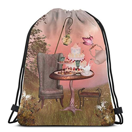 YUDILINSA Mochila con Cordón Mochila Bolsa Bolsa de Gimnasio,Cumpleaños Alicia en el país de Las Maravillas con Pastel Mariposa en Bosque mágico Arte de Dibujos Animados
