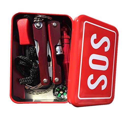 Survival Kits, haoun utensile multifunzione 6in 1SOS Box Outdoor Survival Kits torcia pinze + + filo sega + Whistle Fire Starter + bussola scheda-consegna casuale