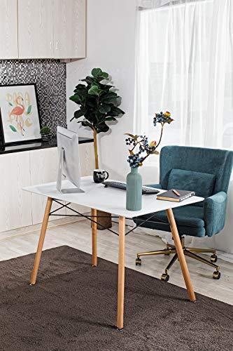 Furniture-R France Table de salle à manger scandinave moderne/rétro - Blanche, 110 x 70 x 74 cm...