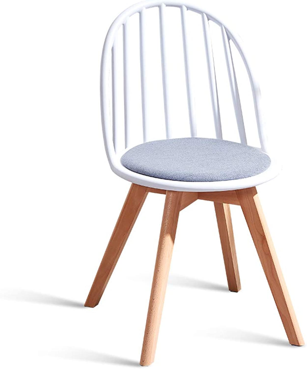 Nordic Solid Wood Dining Chair Home Back Chair Restaurant Modern Minimalist Windsor Chair Lazy Leisure Chair Stool Warm White