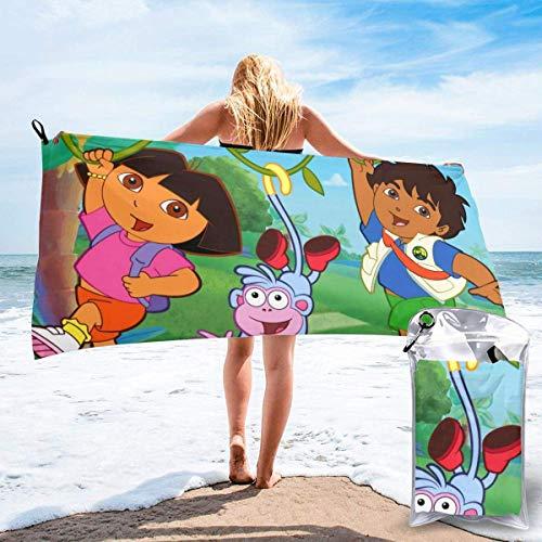 SHIJIAN Dora The Explorer - Toalla de playa ligera para exteriores (31,5 x 63 cm)