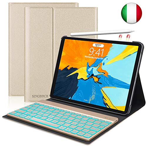 Custodia Tastiera per iPad Pro 11, Slim Fit Cover Protettiva per con Italian Tastiera Bluetooth Wireless Staccabile per iPad Pro da 11 Pollici (Oro/Rose Oro, Colore Casuale Mandare)