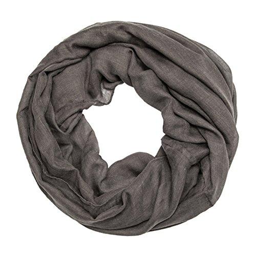 MANUMAR Loop-Schal für Damen einfarbig   feines Hals-Tuch in dunkel-grau als perfektes Herbst Winter Accessoire   Schlauch-Schal   Damen-Schal   Rund-Schal   Geschenkidee für Frauen und Mädchen