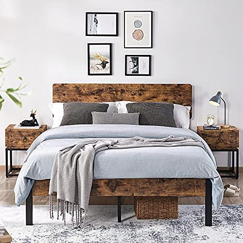 Topeakmart Full Metal Bed Frame with Wooden Headboard Mattress Foundation/Platform Bed/Slatted Bed Base, Full Size