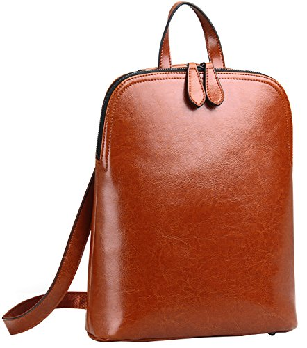HESHE Women's Leather Backpack Casual Daypack for Ladies (Brown-r)