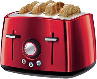 LUNAFJ Automatic Dust Cover Breakfast Machine Toaster Multi-Function Adjustable Heating and Thawing Function PTC Uniform Heating Toasters 4 Slices Kitchen Appliance (Color : Red)