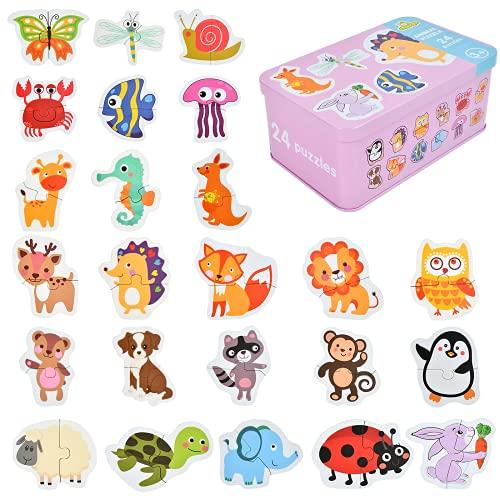 EKKONG Puzzles de Madera,Animales Rompecabezas,Juguetes Bebes, Puzzles de Madera Educativos para Bebé, Juguetes niños 1 año 2 3 4 5 6 años (24 Pack)