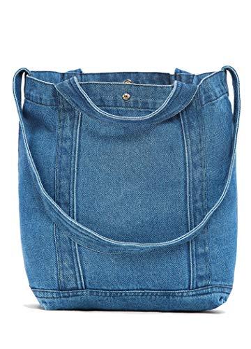 Luna et Margarita Elegante borsa a tracolla blu in denim di cotone 100% Borsa grande per donna e ragazza