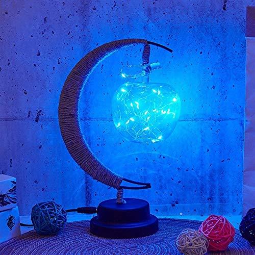 Lámpara de mesa LED noche lámpara estrellas luna luz ratán bola niños regalo de cumpleaños hecho a mano cáñamo cuerda USB de hierro forjado Luz de mesa Minimalism (Emitting Color : Apple)