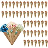KELEOINA Conos Arroz Boda, 50 piezas de soporte de flores de conos de papel kraft retro con pegatinas de lirio de cala, conos de pétalos, papeles de cono de bricolaje para bodas, 15 x 15 cm (azul)