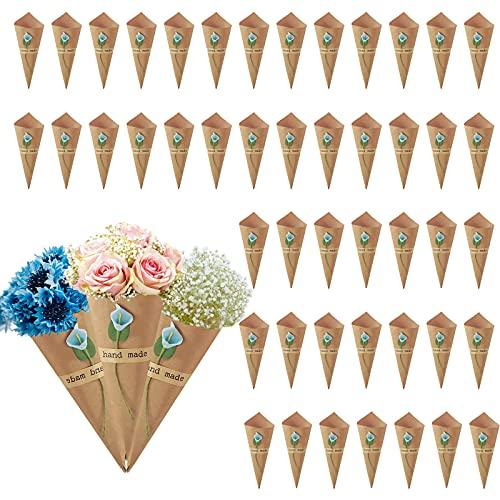 KELEOINA Conos Arroz Boda, 50 piezas de soporte de flores de conos...