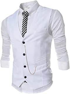 Men's Vests Waistcoat V Fit Slim Plain Neckline Modern Casual Business Stylish Vest Blazer Vest Tuxedo Waistcoatt Wedding