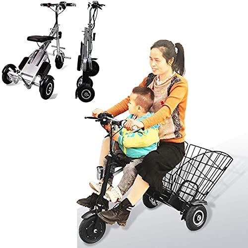 Bicicletta Elettrica Pieghevole E-Bike Per Adulti E Adolescenti Motore Da 250 W Triciclo Elettrico Triciclo Con Batteria Rimovibile Agli Ioni Di Litio 36V 5AH Con Cestello Pieghevole E Protettivo