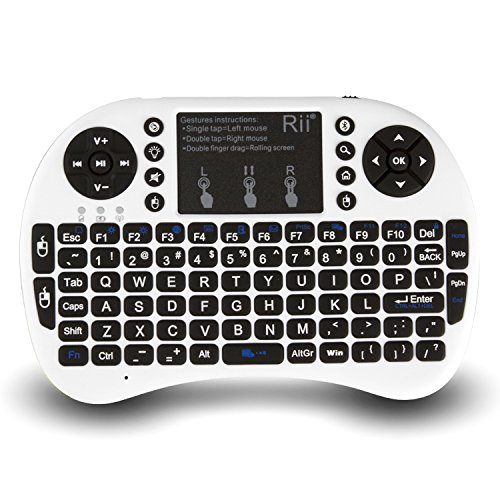 Rii 10079-3 i8+ 2.4GHz Mini Wireless Keyboard with Touchpad Mouse, LED Backlit, Rechargeable Li-ion Battery-White (i8+B)