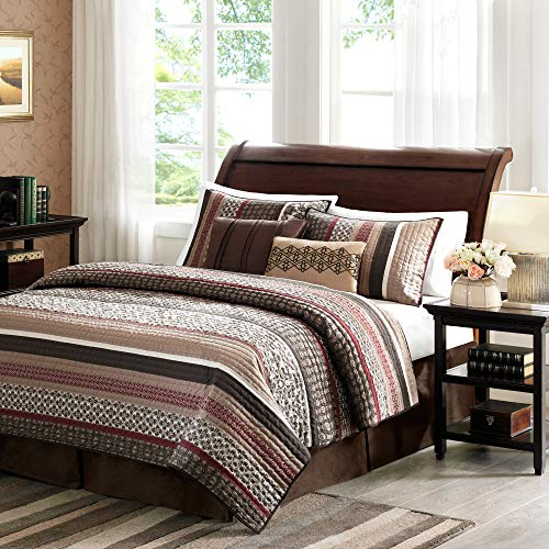 Madison Park Princeton Full/Queen Size Quilt Bedding Set - Crimson Red, Jacquard Patterned Striped – 5 Piece Bedding Quilt Coverlets – Ultra Soft Microfiber Bed Quilts Quilted Coverlet