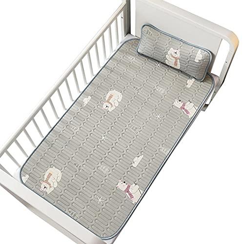 youwu Colchoneta para cama de bebé, transpirable, de seda hielada, lavable, sábana de cama de dibujos animados de verano, colchoneta (color: naranja, tamaño: con funda de almohada)