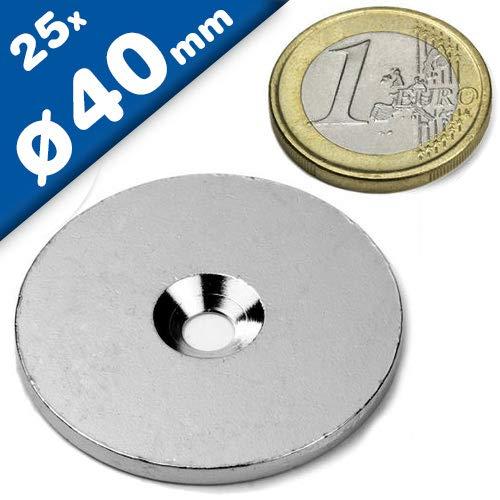25 Metallscheiben mit Bohrung & Senkung - Ø40mm x 3mm - aus Stahl (DC01) verzinkt - Metallplättchen rund mit Loch (Senkbohrung) - Gegenstück/Haftgrund für Magnete (ferromagnetisch), Menge: 25 Stück