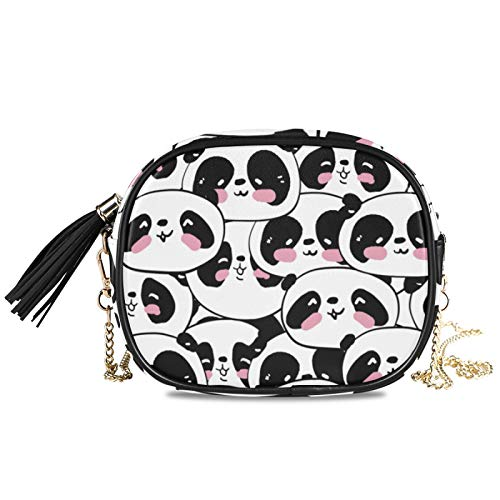 LUPINZ Viele Panda Kopf Muster Kette Schulter Abend Clutch Schultertasche Crossbody Bag