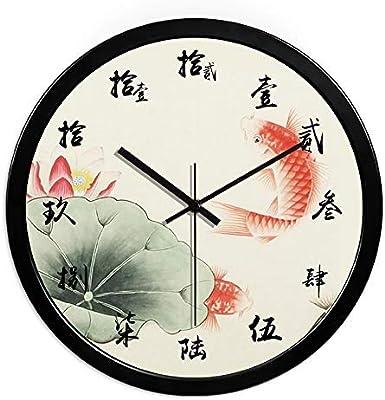 Giow Reloj, Sala de Estar, Dormitorio, Estudio, Reloj, Lavado con Agua, Paisaje, Reloj Chino, Jardín, Pared de Estanque de Loto, 14 Pulgadas: Amazon.es: Hogar
