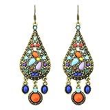 1par étnico Vintage bohemio colorido creado Gemstone pendientes de gota para las mujeres multicolores