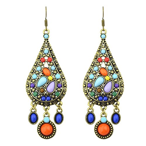 Bohemian Big Circle Hook Earrings Mujeres Fashion Ethnic Faux Turquoise Earrings