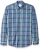 Amazon Essentials - Camicia da uomo a maniche lunghe, slim fit, in popeline casual, Denim Large Plaid, US M (EU M)