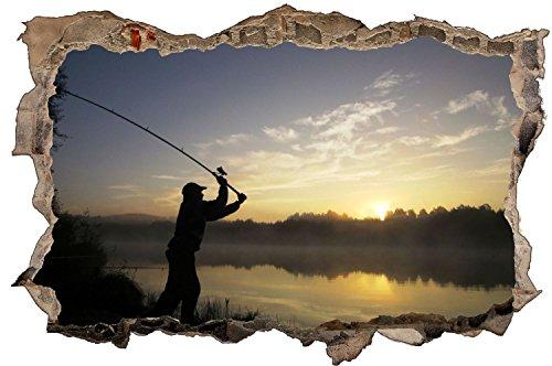 Angler Angeln Sonnenuntergang Wandtattoo Wandsticker Wandaufkleber D1022 Größe 60 cm x 90 cm