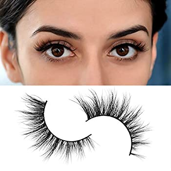 Arison 3D Mink Lashes False Fake Eyelashes Wispy Strips Silk Reusable Handmade Real Long Fur Soft Dramatic Natural Look 1 Pair Package for Women Makeup  H1001A