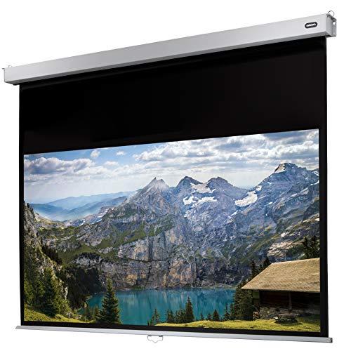 celexon manuell ausziehbare Heimkino- und Business-Rollo-Beamer-Leinwand 4K und Full-HD mit Slow-Return Professional Plus - 280 x 158 cm - 16:9