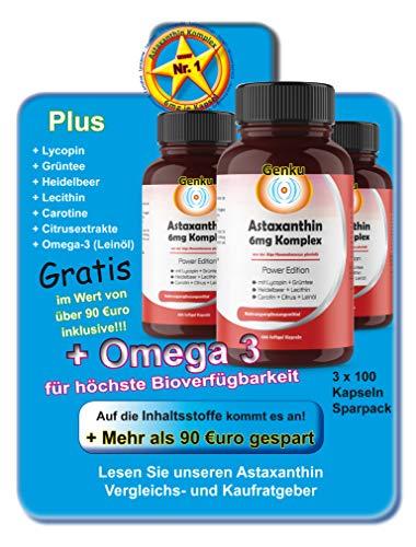 Genku´s bestes 6mg Astaxanthin 3x100 Softgel Kapsel 7-fach Komplex hochdosiert, sehr hohe Bioverfügbarkeit mit Omega-3 Lycopin Grüntee Heidelbeer Citrus Lecithin Carotine. 50% mehr als 4mg