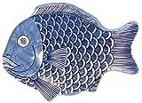 G.E.T. Enterprises Blue 10 Fish Shape Serving Platter, Break Resistant Dishwasher Safe Mel...