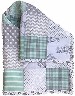 Baby Quilt Handmade Gender Neutral Nursery Bedding with Elephants