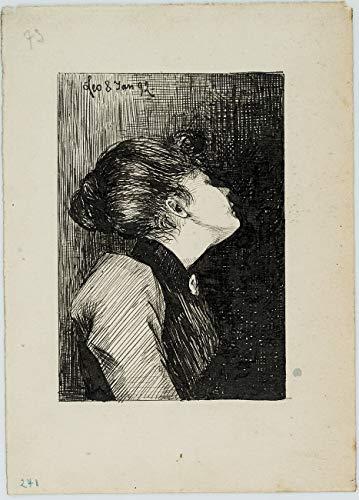 H. W. Fichter Kunsthandel: Leo Primavesi (*1871), Emporblickende Frau mit Brosche, 1892, Federzeichnung
