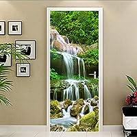 ドアステッカー PVC自己粘着3D滝風景壁紙リビングルームキッチン防水ホームステッカードアステッカー (Sticker Size : 77x200cm)