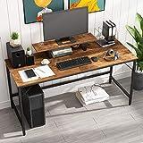 HOMEYFINE Scrivania per Computer,Tavolo per Laptop con Portaoggetti per Controllore,Legno e Metallo,Tavolo per Studio,152 x 60 x 73 cm (Finitura della Quercia Vintage)