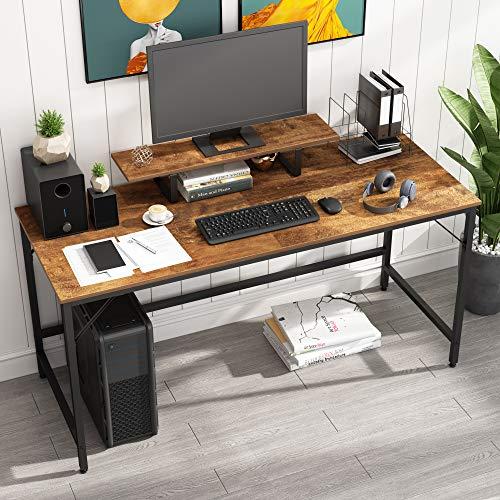 HOMEYFINE Escritorio de Computadora, Mesa de Computadora Portátil con Almacenamiento para Controlador, 60 Pulgadas, Madera y Metal, Mesa de Estudio para Oficina en Casa (Acabado de Roble Vintage)