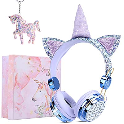 Unicorn Bluetooth Headphone Over Ear for Girls,Children Wireless Headphones 85dB Volume Limiting with Microphones for Boys/Christmas/Birthday/Go Back School Gifts by GANYUE
