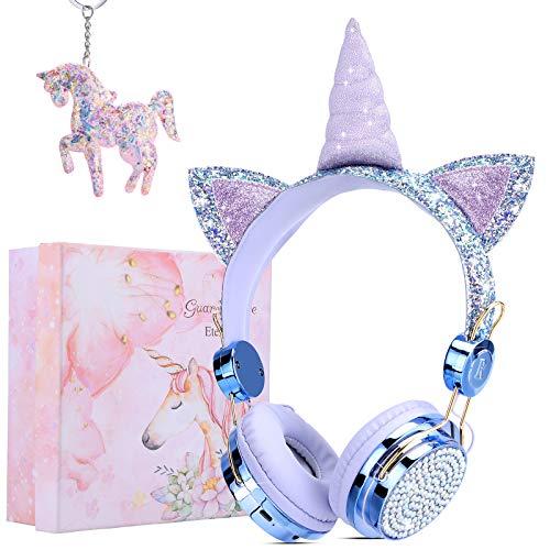 Auriculares Unicornio Bluetooth,Auriculares Inalambricos Niña con Micrófonos,Limitación de Volumen a 85 dB,Regalos para Cumpleaños/Halloween/Navidad/Volver a la Escuela