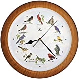 Lovely Collection 14-inch Plays 12 Popular North American Bird's Songs Wall Clock Mantel Clock Home Deco Multicolor (Tcbd007-w Faux Wood)