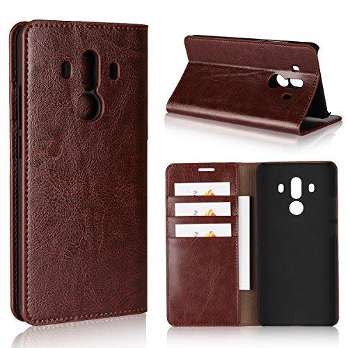Copmob Huawei Mate 10 Pro Hülle, Handyhülle Premium Slim Schutzhülle Echtleder Hülle Ledertasche mit [Premium Leder] [Kartenfach] [Standfunktion] - Dunkelbraun