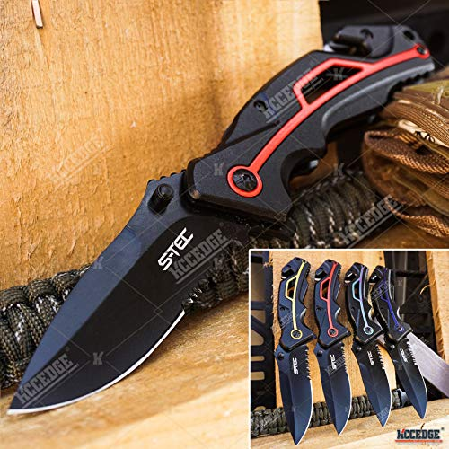KCCEDGE BEST CUTLERY SOURCE EDC Pocket Knife Camping Accessories Razor Sharp Partially Serrated Emergency Seat Belt Cutter & Glass Breaker Survival Folding Knife Camping Gear Survival Kit 55174 (Red)