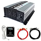 GoWISE Power 1000W Pure Sine Wave Inverter 12V DC to 120V AC with 2 AC Outlets + 1 5V USB Port, 2 Battery Cables, and Remote Switch (2000W Peak) PS1002, Updated Model