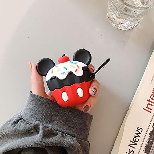 Neaer Funda de silicona para Airpods 1 2 Lindo helado 3D Mickey Minnie para Airpods 1 2 Funda a prueba de golpes para Airpods, accesorios para auriculares (color: beige)