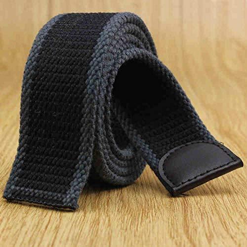 ZHYAODAI Cinturón De Lona,Moda Espesar Correa Correa De Lona Hombres Jeans Militar Deportes De Exterior Suave Transpirable Cómodas Correas Sin Hebilla Lateral Fresno Negro@110Cm
